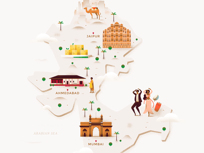 Map - West India animal editorial jaipur mumbai dancing food world pastel texture castle monk camel india building map people architecture travel vector illustration