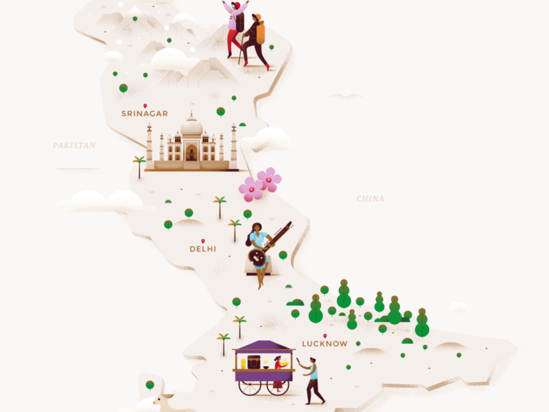 Map - North India people flower island mountain hiking street food taj mahal asia india city building food architecture pastel texture gradient travel flat vector illustration
