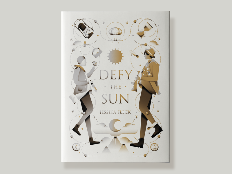 Defy the Sun Book Cover lantern mountain wire boy girl medal moon sun people adventure cover gold white fantasy book cover book gradient flat vector illustration