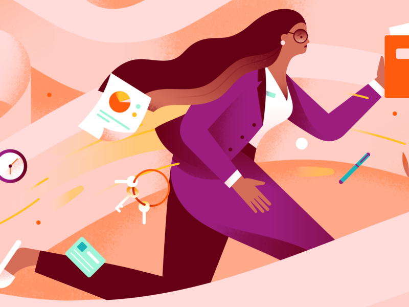 Sister's Letter - Perimenopause character girl maze running work blog editorial health people person woman pastel texture gradient flat vector illustration