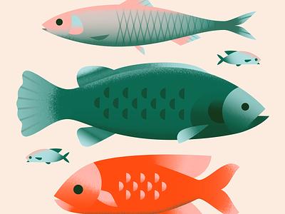 Fish fishes sea ocean fish animal pastel texture gradient flat vector illustration