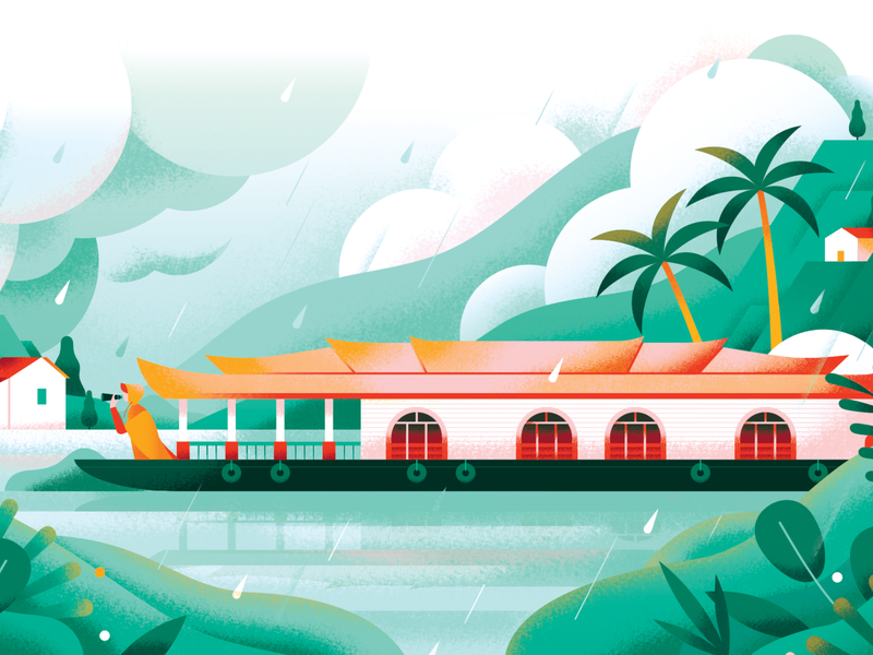 Monsoon Travel weather tropic tropical scenery thailand traditional asia village river forest holiday monsoon boat rain nature texture travel flat vector illustration