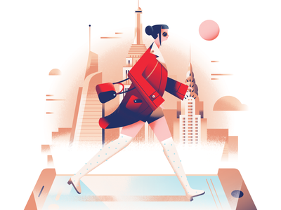 Digital Fashion fashion chrysler building world trade center empire state building new york city instagram social media digital phone skyscraper city girl new york building architecture pastel gradient flat vector illustration