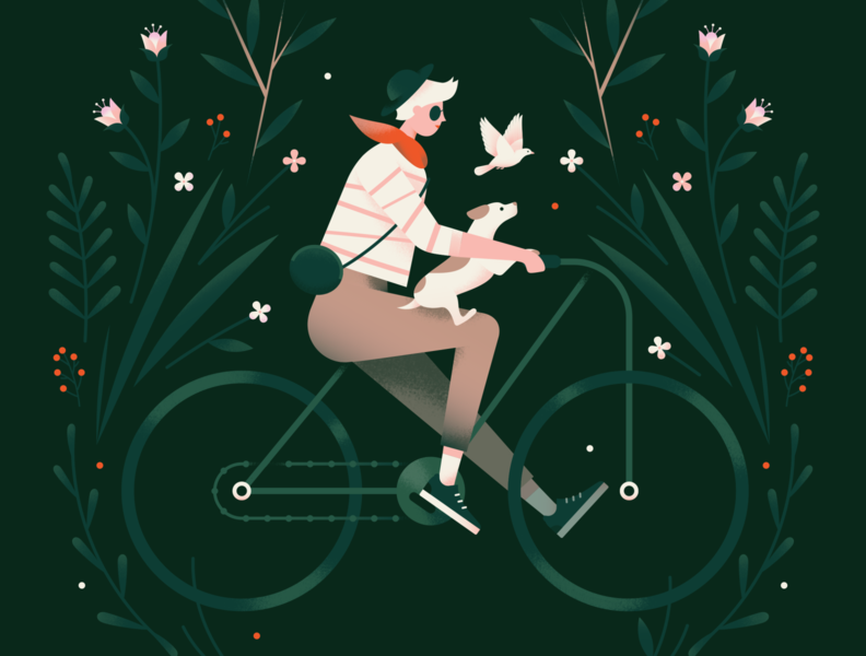 Cycling outdoor vines forest flower leaves nature plants cycling bird bicycle woman girl spring dog animal texture gradient flat vector illustration