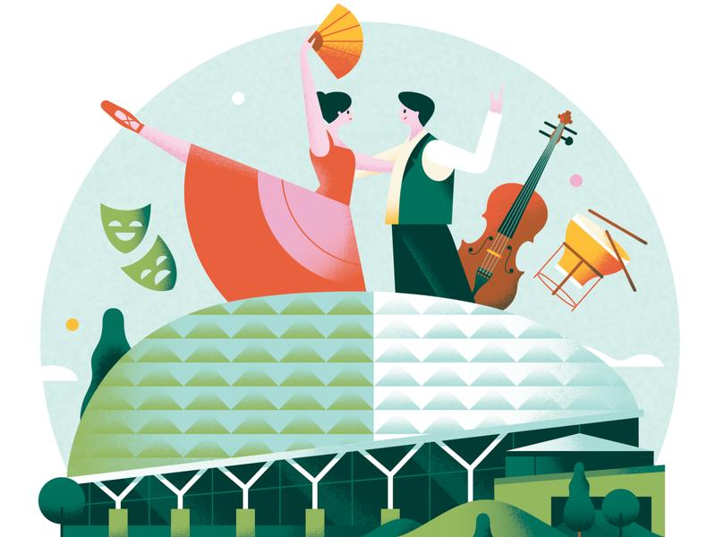 Discover Singapore - Esplanade teal editorial flat green drum violin cello bright pastel texture vector performance singapore architecture music dance art museum esplanade building illustration