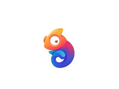 Chameleon vector illustration vector gradient branding logo ui  ux design