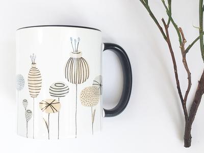 Floral Mug cute abstract flowers mug design watercolour lines illustration watercolor floral flowers mug product design