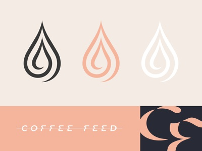Coffee Feed - Drops, Inline Wordmark design branding art espresso latte drop drip icon logo typography type
