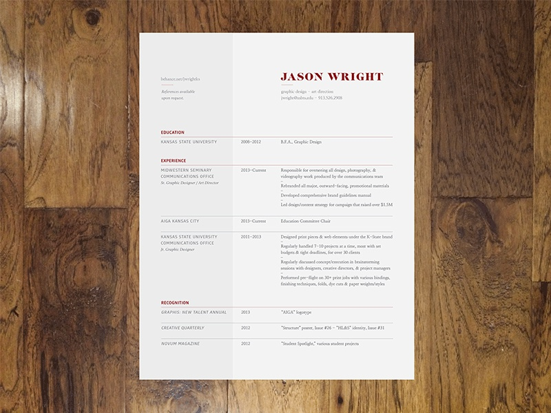 Personal Résumé design typography branding layout resume inspiration personal template free download