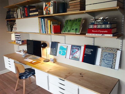 New Workspace studio design space work unit shelves desk workspace
