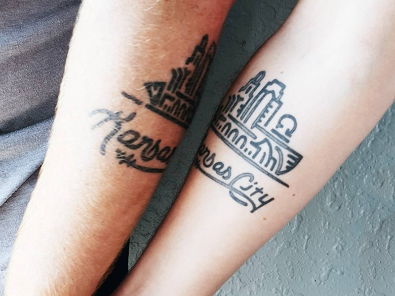 Kansas city skyline tattoo by jason wright dribbble for Kansas city tattoo