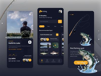 Fishing App 🐟 ui boat vacation fisher man best shot creative uikit dribbble best shot caught fish fish lake fishing app fishing fish