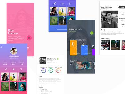 Profile UI Design app screen app ui free psd free screen ui ux news feed profile home
