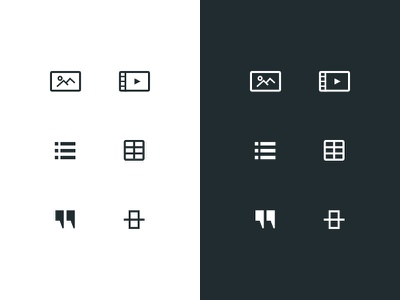 Custom content editing icon set list table spacer quote video image icons editor content