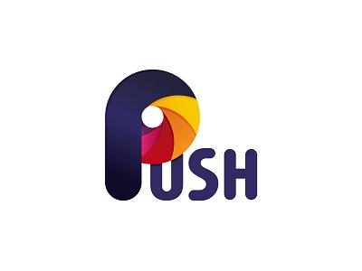 Push push ratio golden identity letter p monogram logo branding