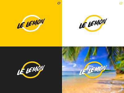 Le Lemon beach fruit typography logo concept lemon