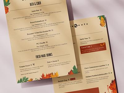 NewsCafe Autumn season card leaf leaves carrot autumn vegan tapas restaurant menu main lunch food drinks dinner dessert card cafe breakfast