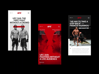 02 - UFC 249 Design Concepts clean typography uiux user interface ui mobile ui responsive layout minimal webdesign website design web  design web