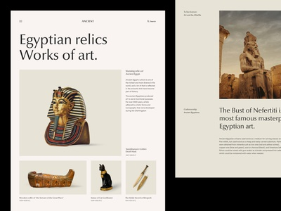 Ancient History: Egypt Edition history exploration layouts editorial egypt typography modern concept website webdesign design web minimal ui clean