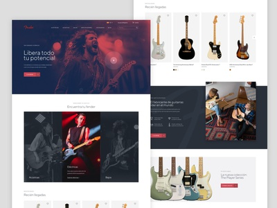 Fender Home Page Redesign guitars fender redesign ux ui layout modern website webdesign design web clean