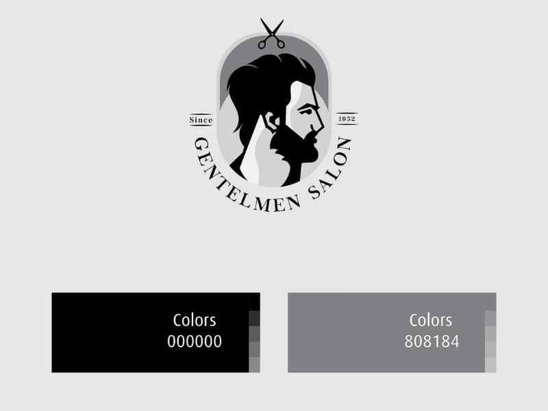 Gentlemen salon illustration  logo black white