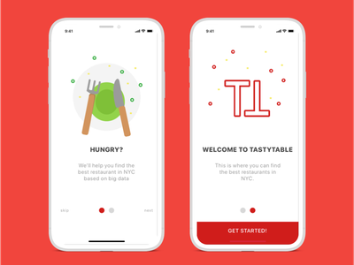 Onboarding concept for TastyTable tastytable sketch onboarding concept app