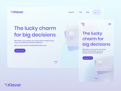Klaver Hero Design glassmorphism modern web briefbox klaver bank mobile