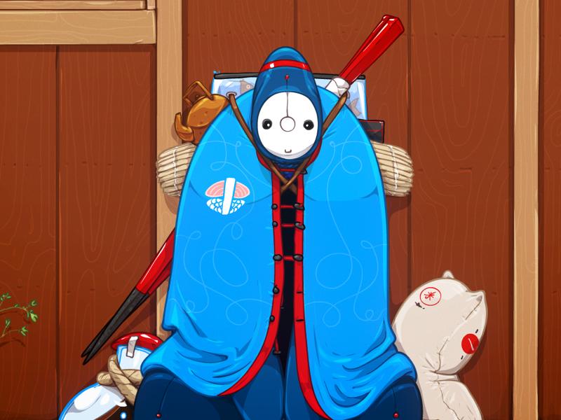 Itamae vector illustration character sushi japan