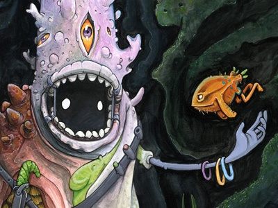 Fissure Fisher character drawing painting gouache ink