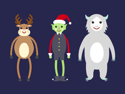 Christmas Characters bigfoot abominable deer reindeer elf snowman merry christmas dancebattle