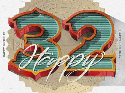 Happy 32 illustrator flat icon vector typography illustration design