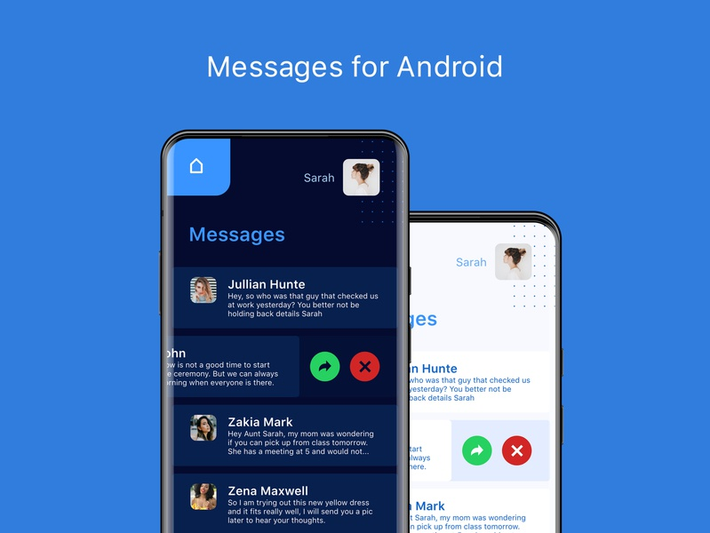 Messages for Android samsung galaxy mobile design mobile ui android app android app ux ui minimal flat design