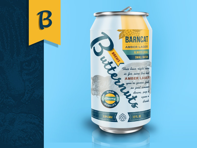 Butternuts Beers & Ales mockup lager beer can brand packaging