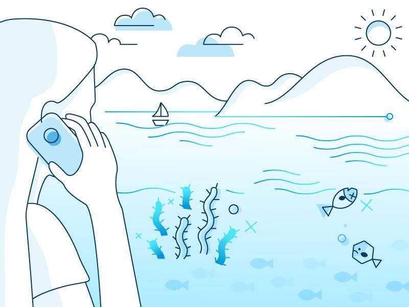 Website Illustration airy clean water 2d flat gradient blue line illustration
