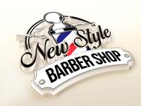 New Style Barber Shop Logo 3D