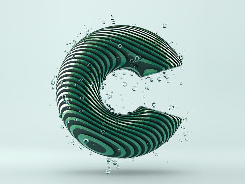 I C U icon design typography rendered c4d