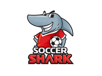 Soccer Shark (Unused) logo brand identity soccer football shark mascot character friendly fun fish