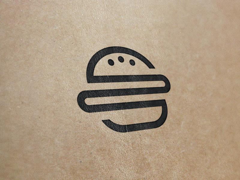 Burger + Books logo brand identity burger hamburger book food fast food delivery wizmaya
