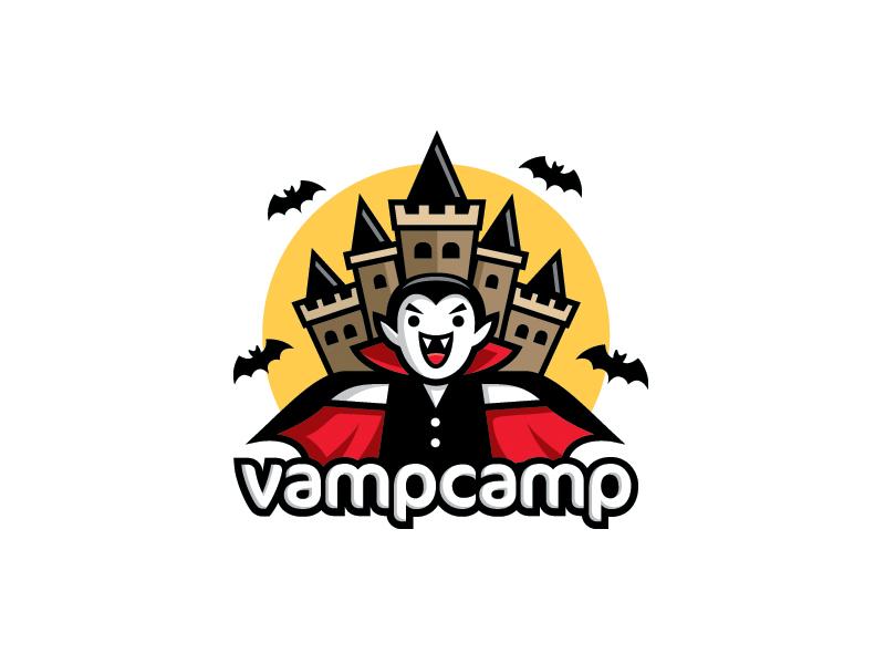VampCamp logo illustrative cartoon vampire transylvania castle fun camp dracula bat cute halloween