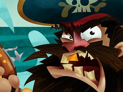 Blackbeard cartoon illustration character drawing childrens art pirate blackbeard mascot