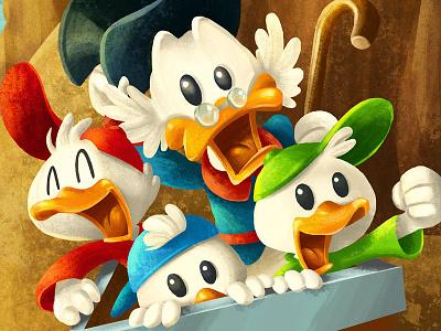 Duck Tales illustration character disney cartoon drawing duck tales scrooge gouache painting digital