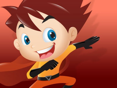 Super Pose super boy cartoon character mascot illustration fun
