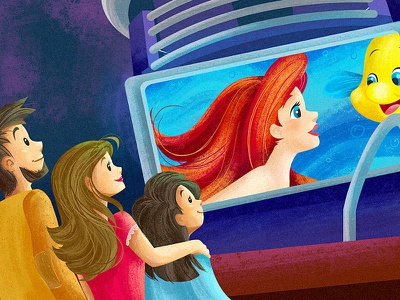 Movie Night movie mermaid drawing children book juvenile cute disney ariel cartoon character illustration
