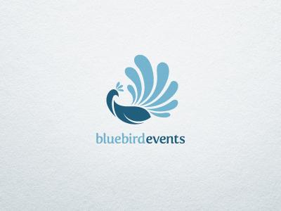 Blue Bird Events Logo logo illustrative blue bird peacock identity brand