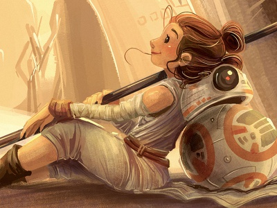 Desert Princess cute landscape children kidlitart digital disney star wars bb-8 rey drawing cartoon illustration