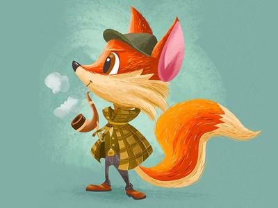 Fox Detective sherlock hip detective cute fox children kidlitart digital drawing cartoon illustration