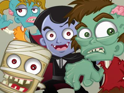 Halloween halloween character fun mascot cartoon vector illustration spooky zombie mummy vampire freebie