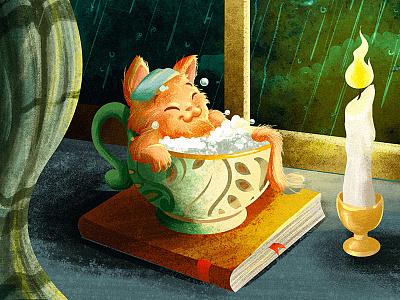 Heaven rain bath kitten character cute cat children kidlitart digital drawing cartoon illustration