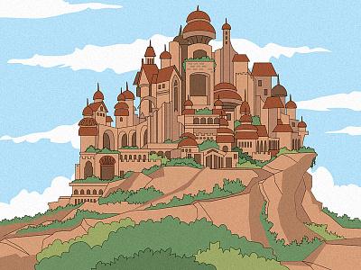 Castle Color Test background vector fantasy land childrens book kingdom castle drawing cartoon illustration
