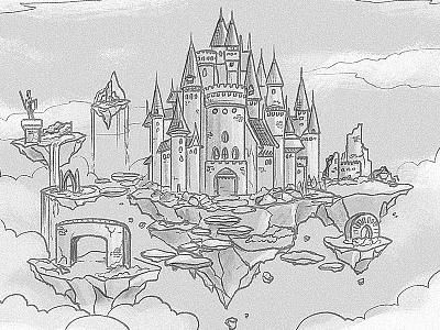 Sky Kingdom (WIP) wip background sky fantasy land childrens book kingdom castle drawing cartoon illustration